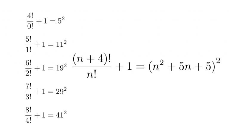 階乗の比に1を足すと平方数になる