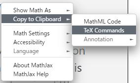 MathJaxの右クリックメニューで数式を直接コピーする画像