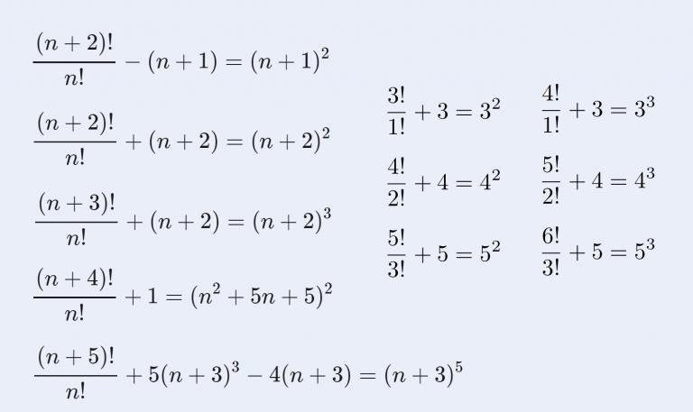 階乗を含んだ恒等式の一覧