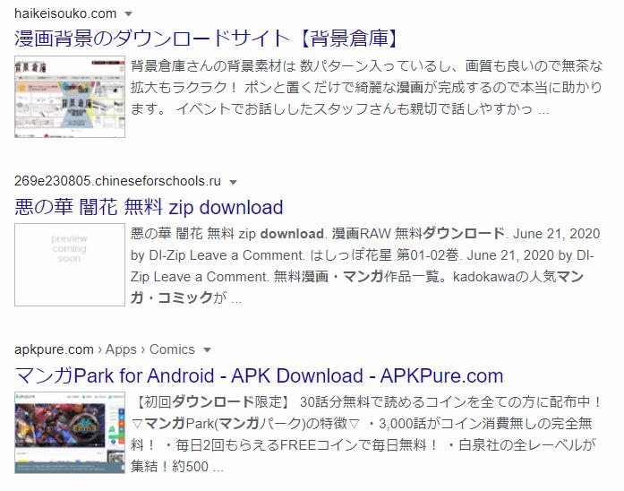 SearchPreviewを有効化した後のGoogle検索結果。詐欺サイトがプレビュー画像から分かる
