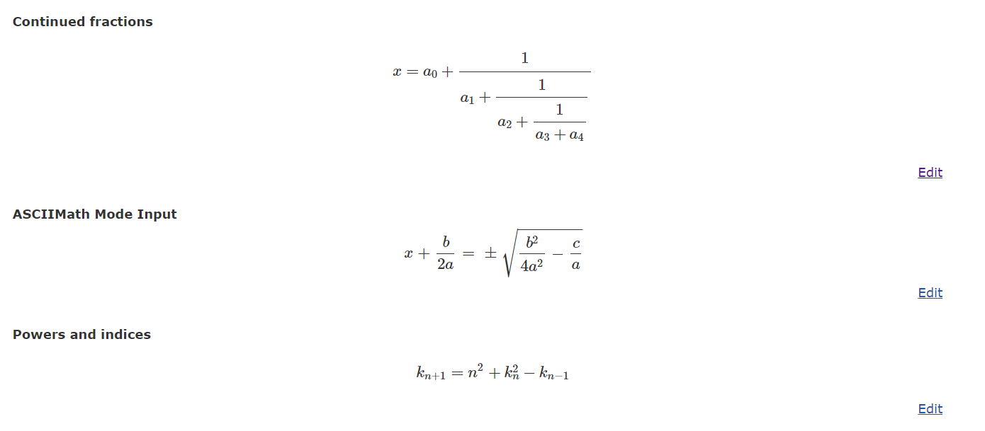Web数式エディタHostMathのデモページ